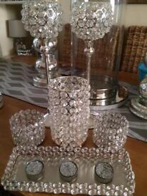 Selection crystal effect beaded candle holders