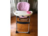 Chicco High Chair, pink cover
