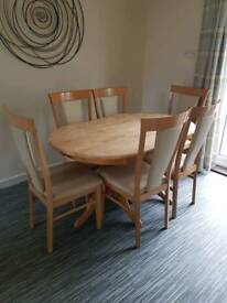 Wooden dining table, 6 chairs