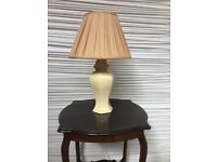 Cream Ceramic Oriental Urn Lamp Base with Pleated Silk Shade
