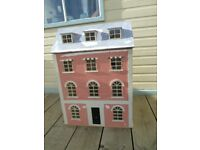 Georgian Style Large Wooden Dolls House with Furniture