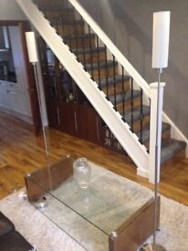 Glass top table and 2 standard lamps all as new bargain price