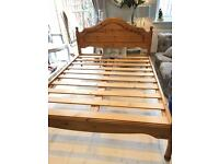 Pine double bed frame good solid bed