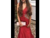 Stunning red diamanté prom dress, worn once fit 8 possibly 10, lovely fitting