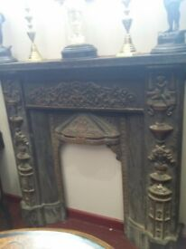 Antique victorian cast iron fireplace 425 pounds ONO.