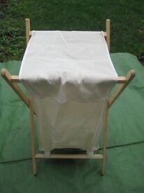 Cream Canvas Laundry Basket