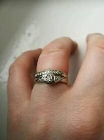 9ct white gold 1/2 carrot bridal set.