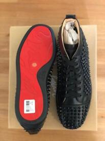 Christian Louboutin Black leather spikes trainers UK 9