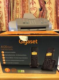 GIGASET A120 TWIN CORDLESS PHONES IN VGC £10.00