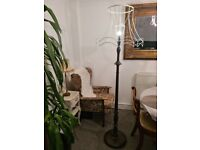 vintage mahogany floor standing lamp and lampshade frame