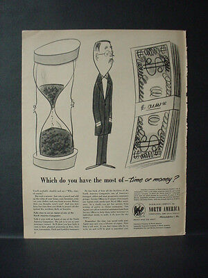 1951 Hour Glass or Money Insurance Company North America Vintage Print Ad 11269](Party America Hours)