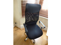 Office chair adjustable with arm rests and hydraulic lift, part leather (very good condition)