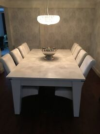 Pool Dining Table - large 7ft, white with black cloth (with or without chairs) - Ex Thurston