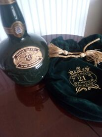 CHIVAS REGAL ROYAL SALUTE 21 YEAR OLD SCOTCH WHISKY DECANTER AND VELVET BAG - EMPTY.