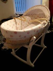 MOSES BASKET, MATTRESS, BEDDING AND MOSES BASKET STAND