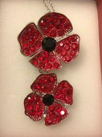 2 poppy chains & brooches Austrian Crystal brand new