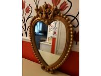 Vintage heart shaped cherubs guilt mirror