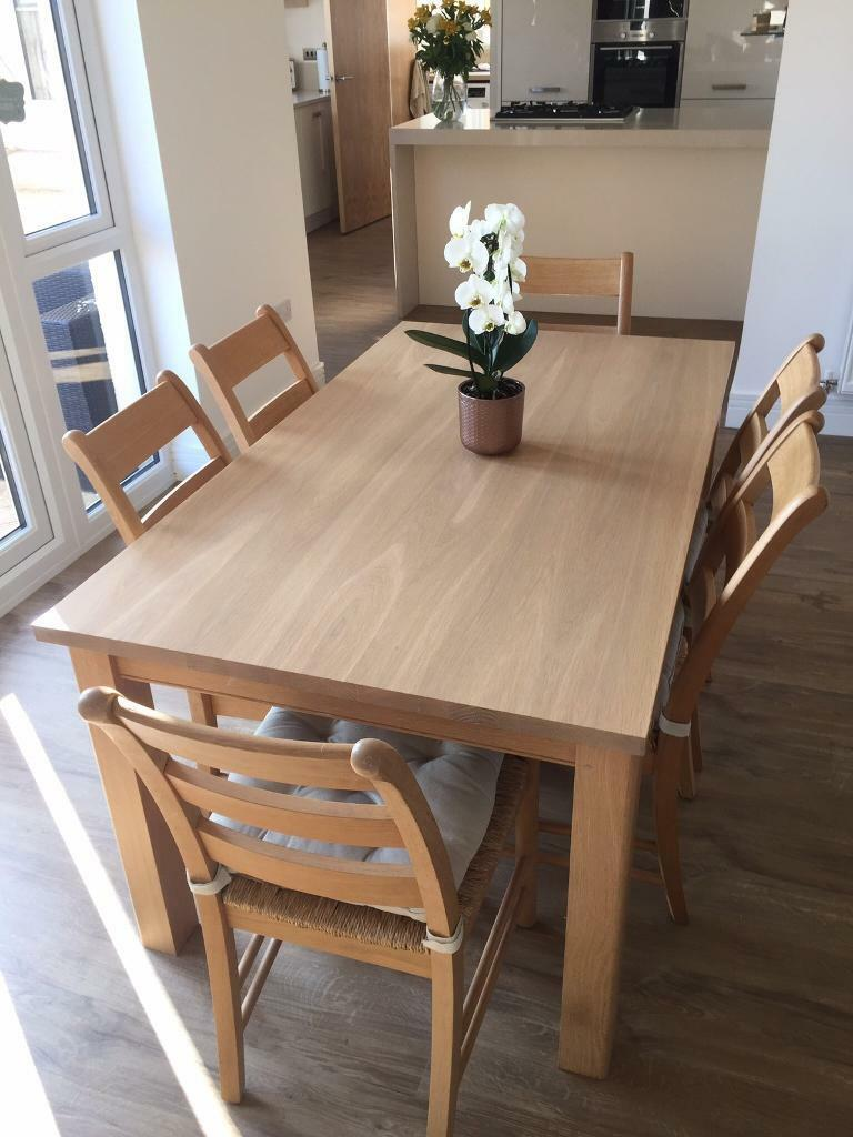 Immaculate Solid Oak M Amp S Kitchen Dining Table With 6