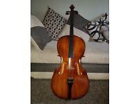3/4 student cello & case