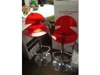 Red bar stools x2