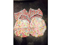 Real Nappies Tots Bots Nappy Wraps Size 3 (x4). Two cute cherry pattern and two flower pattern.