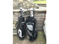 Mixed golf clubs bag and golf trolly