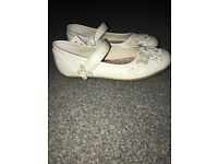 Girls size 12 party shoes white flowers and butterflies