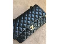 Authentic Chanel classic flap in smooth calfskin leather gold hardware
