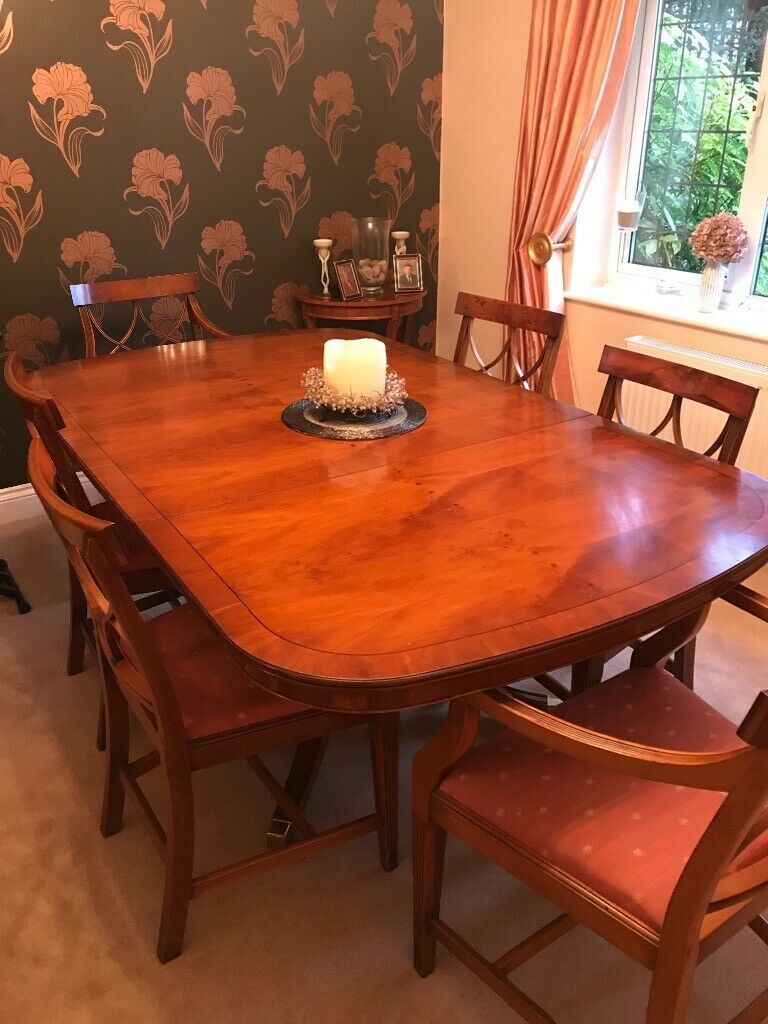 yew dining room furniture | Yew dining table and 6 chairs - reduced for sale | in ...