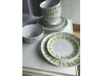 Set of 4 Dinner plates Tea Plates & Bowls, green leaf pattern 🍃
