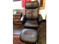Black Leather Recliner with foot stool