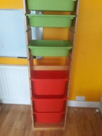 Children toy storage unit with removable shelves