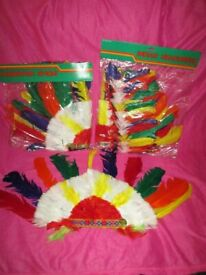 Still in packets: Red Indian Chief Headdress x 13, Tomahawks x 13, Head Bands