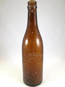 Early-19c-Vintage-ALE-KRUEGER-BEER-NEWARK-NJ-Brewing-Amber-Bottle-Glass-Bar