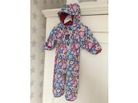 Jojo Maman Bebe Waterproof Fleece Lined All In One /Snowsuit girls 3-6 months