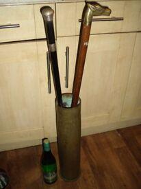 Unusual Large Brass Umbrella Stand/Artillery Shell H 50 cm