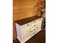 Large Cream Painted Wooden Sideboard 6 Drawers & 2 Cupboards