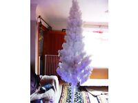 8 Foot Artificial White Xmas Tree & Lights