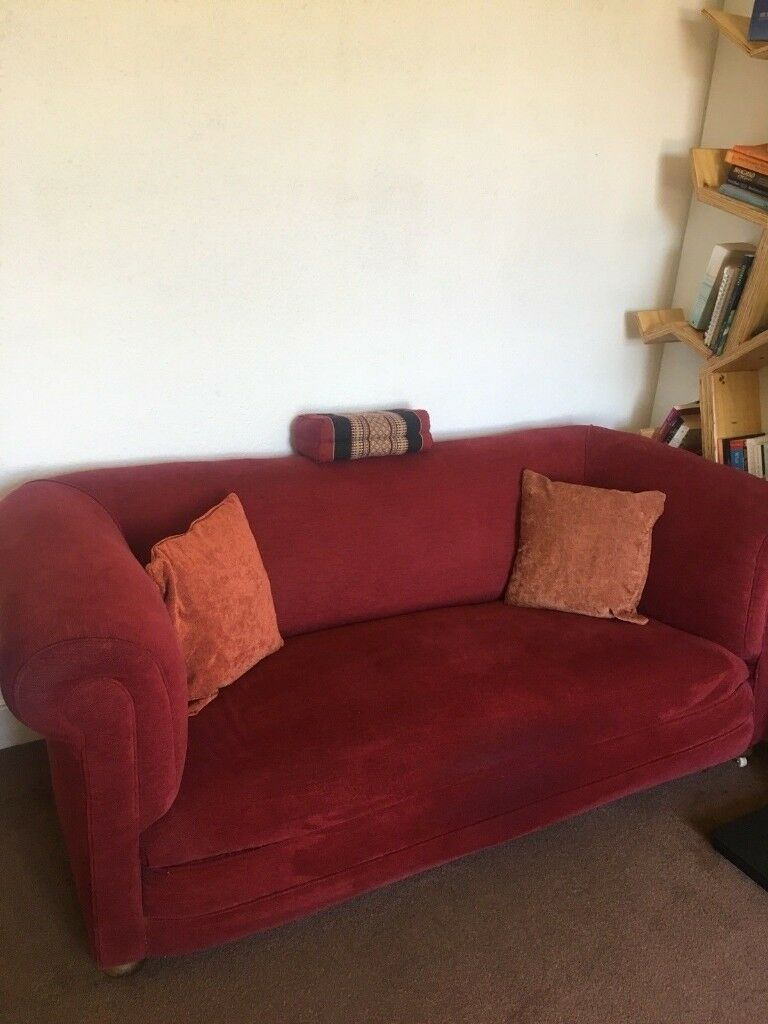 Vintage Red Velvet Chesterfield Sofa