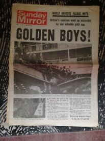 July 31 1966 England Won Wod cup Sunday Mirror