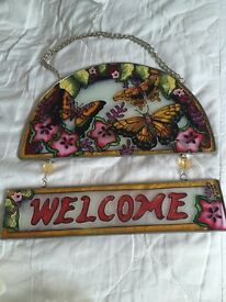 Stained glass welcome sign