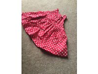 Blue zoo dress red white spotted 0-3months