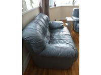 2 lovely comfortable 2 seater grey leather sofas for sale
