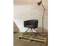 Contemporary grey upholstered breakout chair, 4 leg base