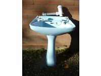 Retro Sky-Blue Bathroom Basin and Pedestal. Discontinued Colour. Vintage