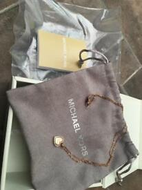 Micheal Kors Rose Gold Heart Pendant Necklace
