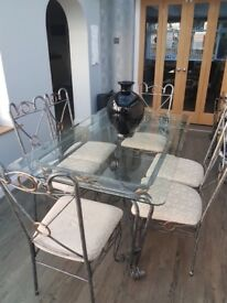 Ornate Metal French Design Dining Table, 6 Chairs, side unit & side table
