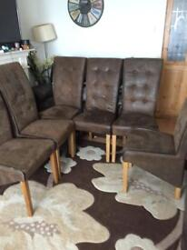 6x faux suede chairs