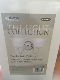 BRAND NEW TIARELLA TWIN WALL LIGHTS BRUSH CHROME FINISH WITH ACID GLASS SHADES (NEW) 4 AVAILABLE