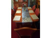 Reproduction Dining Table, 6 chairs and Display Cabinet in Yew finish
